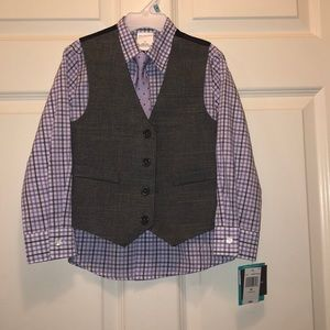 Toddler boy dress shirt and vest